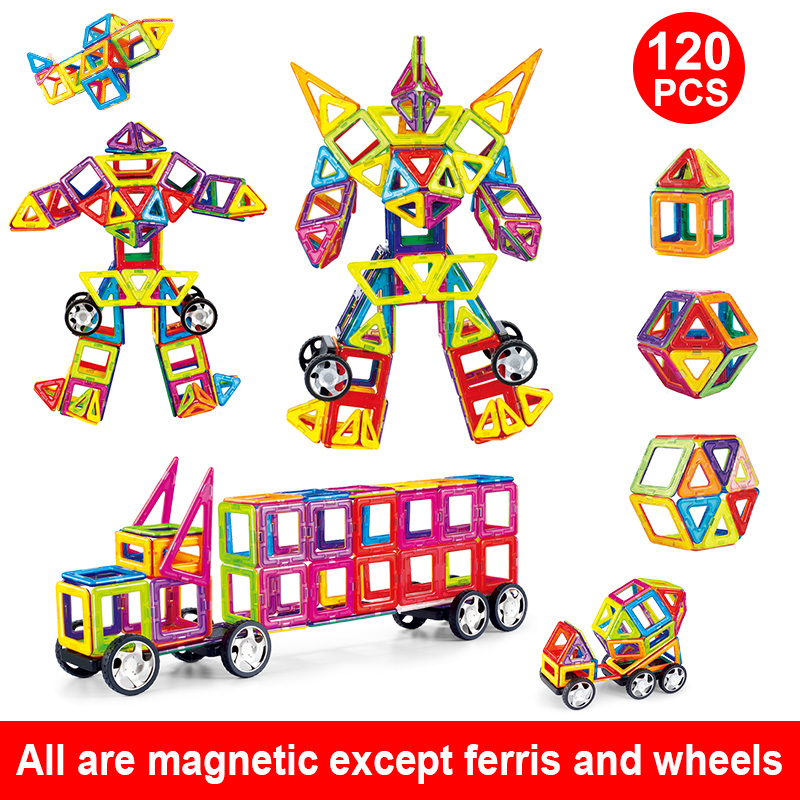 купить Magnetic Building Blocks Educational Magnetic Tiles Kit Magnetic Tiles For Kids Magnetic Construction Toy Set 3D Big Size по цене 774.79 рублей