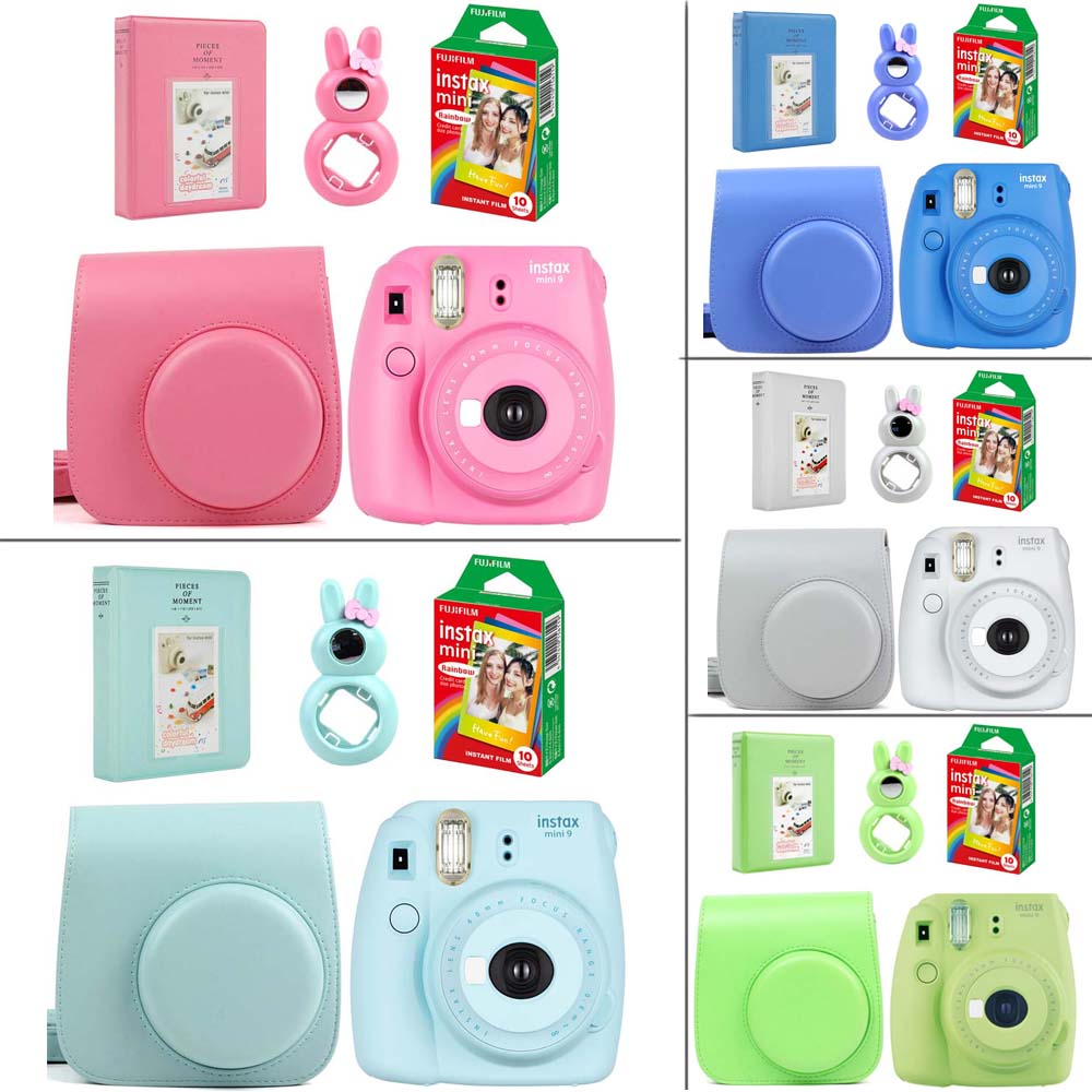 5 Colors Fujifilm Instax Mini 9 Instant Photo Camera Set with Rainbow Film Leather Camera Case
