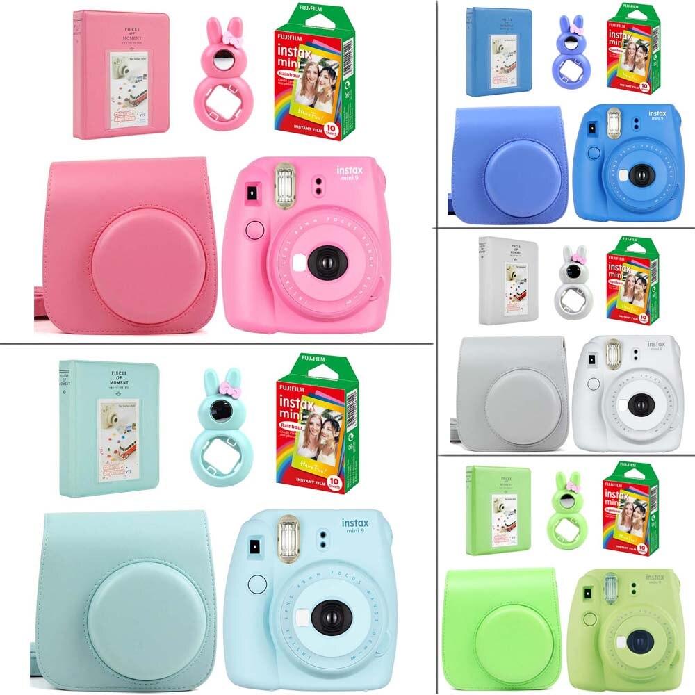 5 цветов Fujifilm Instax Mini 9 Моментальное фото Камера комплект с радугой пленка + кожаный Камера чехол + фотоальбом + кролик селфи объектива