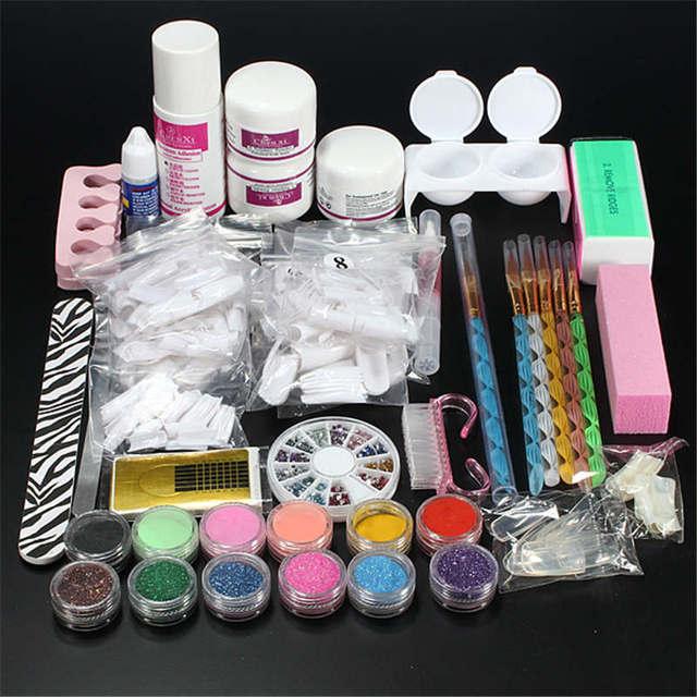 Hot Sale Nail Art Set Acrylic Powder Liquid Glitter Glue Toes separator Brush Tweezer Primer Tips Decorations Manicure Tools Kit