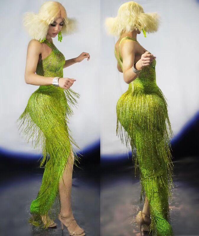 Neon Green Fringes Long Dress Big Stretch One Piece Tassel Dance Outfit Wear Nightclub Bar Show