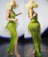 Неоновый зеленый бахромой длинное платье большой натяжкой Одна деталь кисточкой Танец одежда ночной клуб бар показать вечерние день рожде...