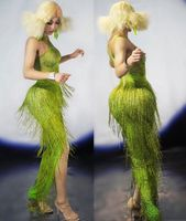Neon Green Fringes Long Dress Big Stretch One Piece Tassel Dance Outfit Wear Nightclub Bar Show Evening Birthday Celebrate Dress