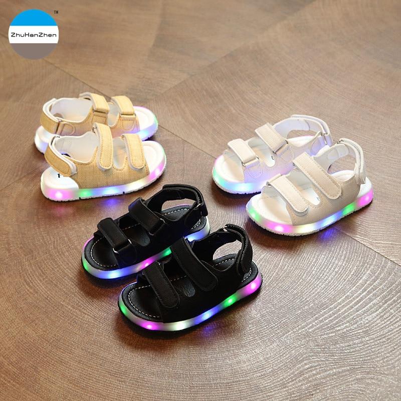 Mother & Kids Inventive 2018 Summer Beach Boy Sandals Led Light Soft Leather Boys Sandals Fashion Kids Sport Sandal Toddler Boys Sandals Glowing Shoes Children's Shoes