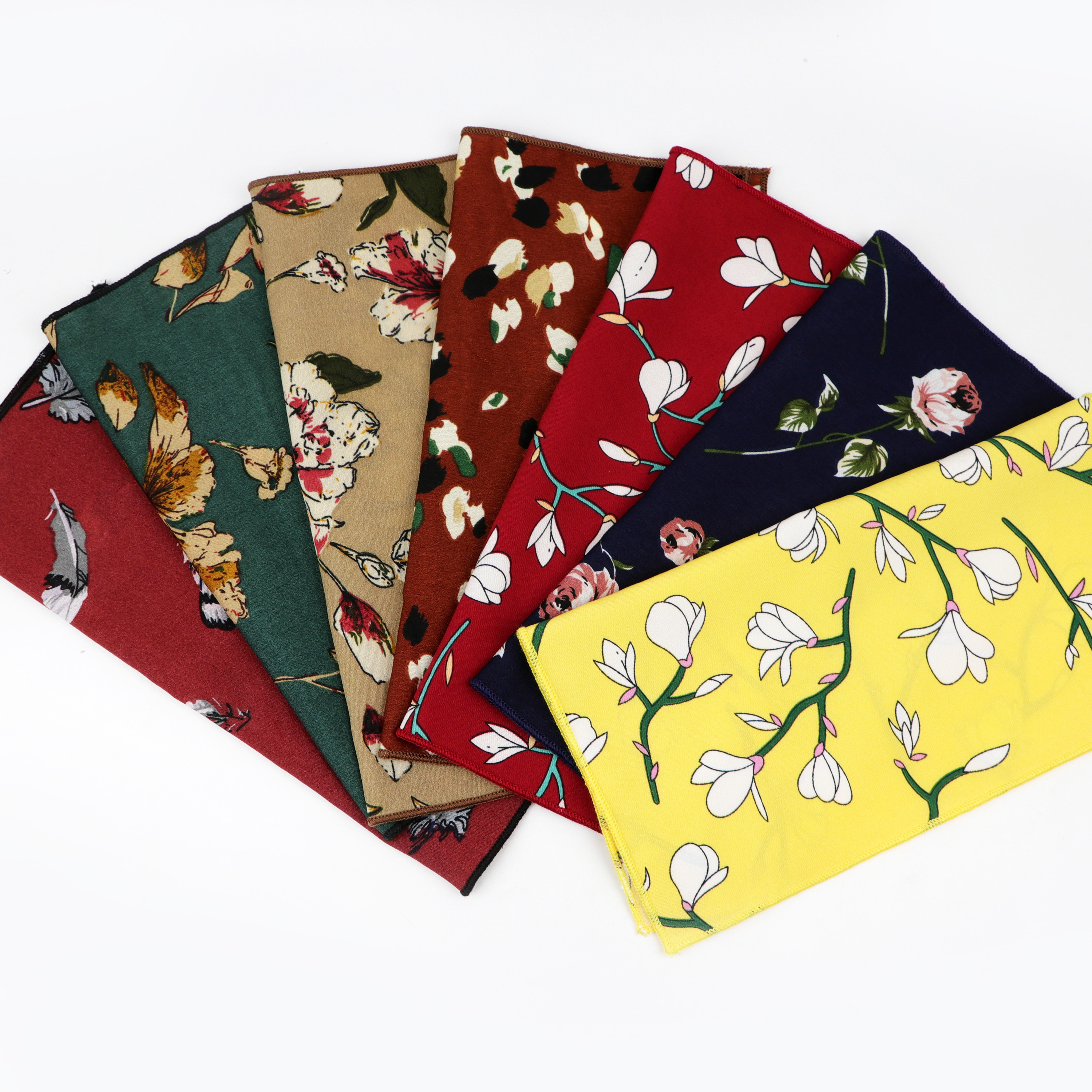 Chiffon Floral Printed Soft Handkerchief Polyester Men Hankies Wedding Banquet Party Pocket Square Flower Accessory Scarves