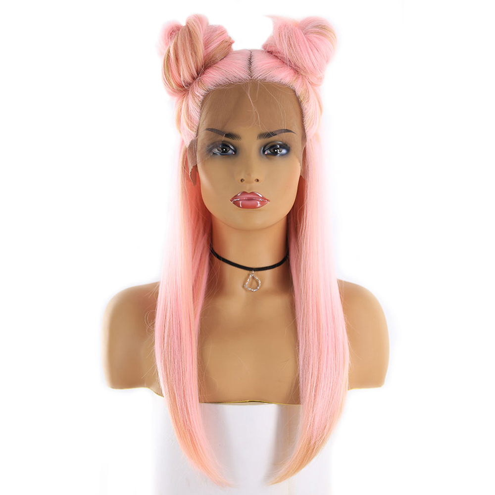 Ombre Pink Gold Color Lace Front Synthetic Hair Wigs For Women X Tress Long Silk Straight Lace Frontal Cosplay Wig Middle Part