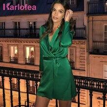4954f5ec57b07 Karlofea Günlük Saten Giyim Elbiseler Seksi V Boyun Ipeksi Ofis Lady Yeşil  Mini Elbise Tatlı Bow Sashes Parti Zarif Yeni elbise