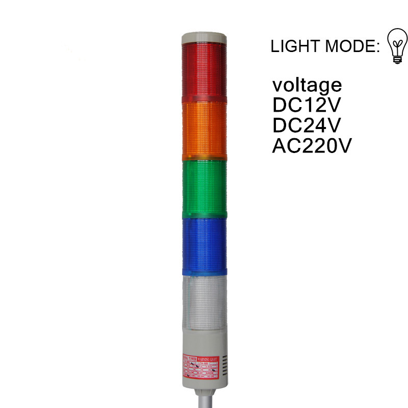 LTA-205-5  Industrial Signal Tower warning Light   AC220V DC12V DC24V steady light  Tower lamp  Multilayer warning light lta 205j 2 dc12v 2 layer tower light signals bulb warning lamp alarm 90db red green u bottom
