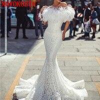 2019 Очаровательные Белые Свадебные платья русалки с пером сексуальный вырез «сердечко» длиной до пола с плеча кружевной свадебный для невес