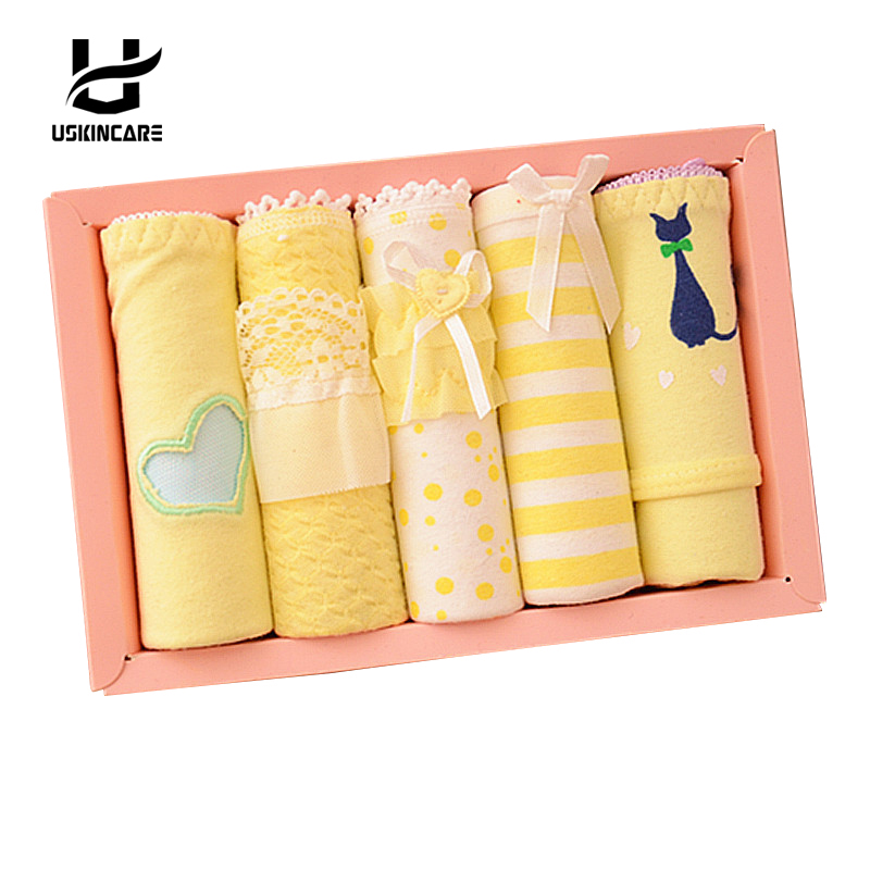 USKINCARE 5 Pieces/lot Women Cotton Panties Brief Soft Breathable Underwear Briefs Yello ...