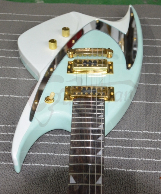 discount directly factory custom green sparkle shark shape body locking tuner electric guitars j. Black Bedroom Furniture Sets. Home Design Ideas