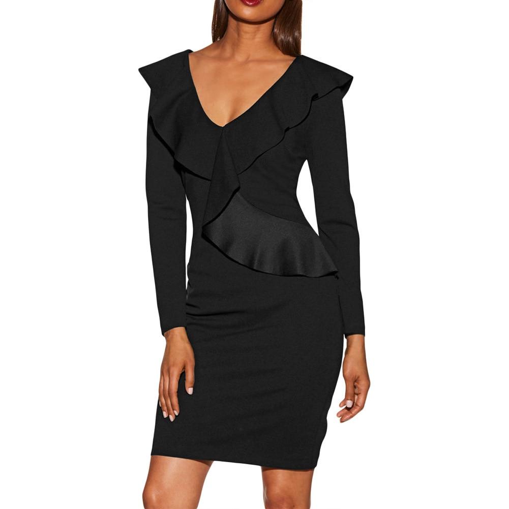 Delle Sottile Abbigliamento Solido Pendolari Casual Increspato Della Black  Sexy Vestito Maniche blue V Ol Scollo Colore Con Modo Di ... 16569b8e180