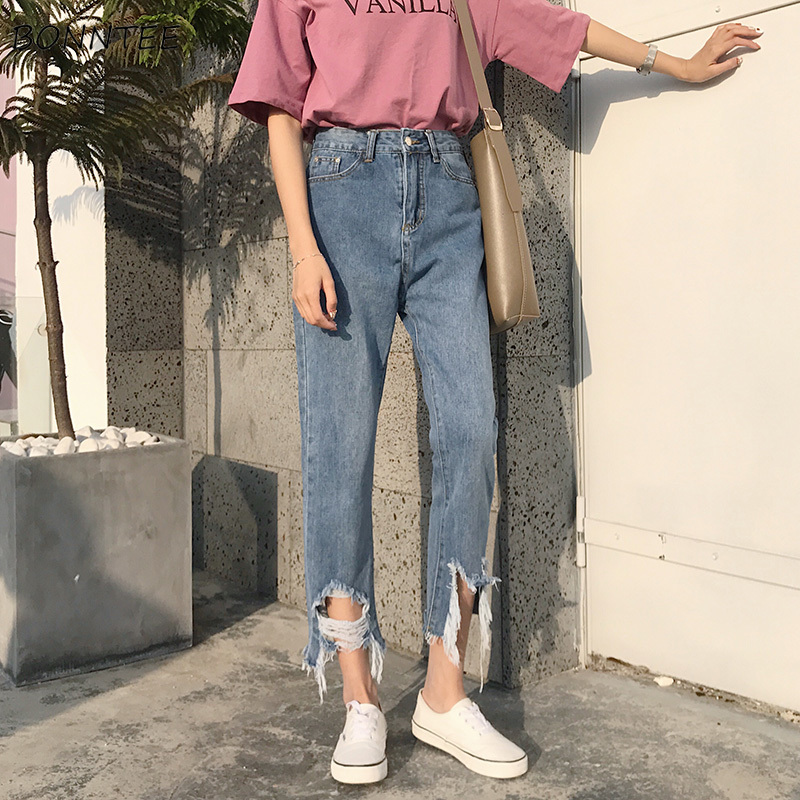 Jeans Women Chic Loose Simple Blue Korean Style Summer Casual Daily Harajuku All-match High Quality Trendy New Student Pockets