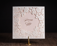 2016 NEW Cute White Pink Small Flowers Wedding Invitations Cards Laser Cut invitation Card for Birthday Party Free Shipping