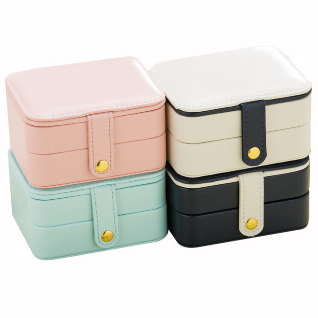 Small Jewelry Box Leather Portable Jewellery Box Multi storey Travel