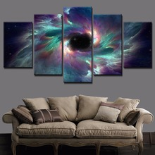 Modern Artwork 5 Piece Modular Style Large Poster On Canvas Printing Type And The Wall Decorative Colorful Space Star Picture