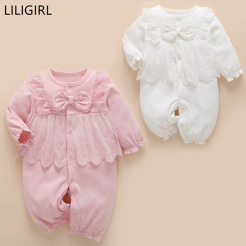 ea532481c28 2018 New Autumn Baby Girl Clothing Cute Baby Romper Girls Princess Lace  Floral Clothes Infant Baby