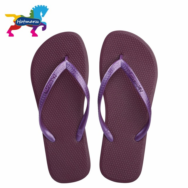 Hotmarzz Summer Women Flip Flop Flat Sandals Beach Purple Shoes Solid Color  Simple Slides Free Shipping Slippers HM0736 4116a29f8f32