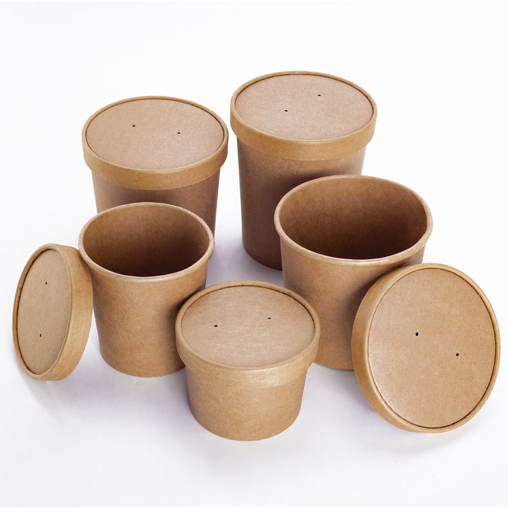 Disposable Kraft Paper Cup with Cover for Ice Cream Soup Dessert Cake Party Tableware Bowl 100pcs