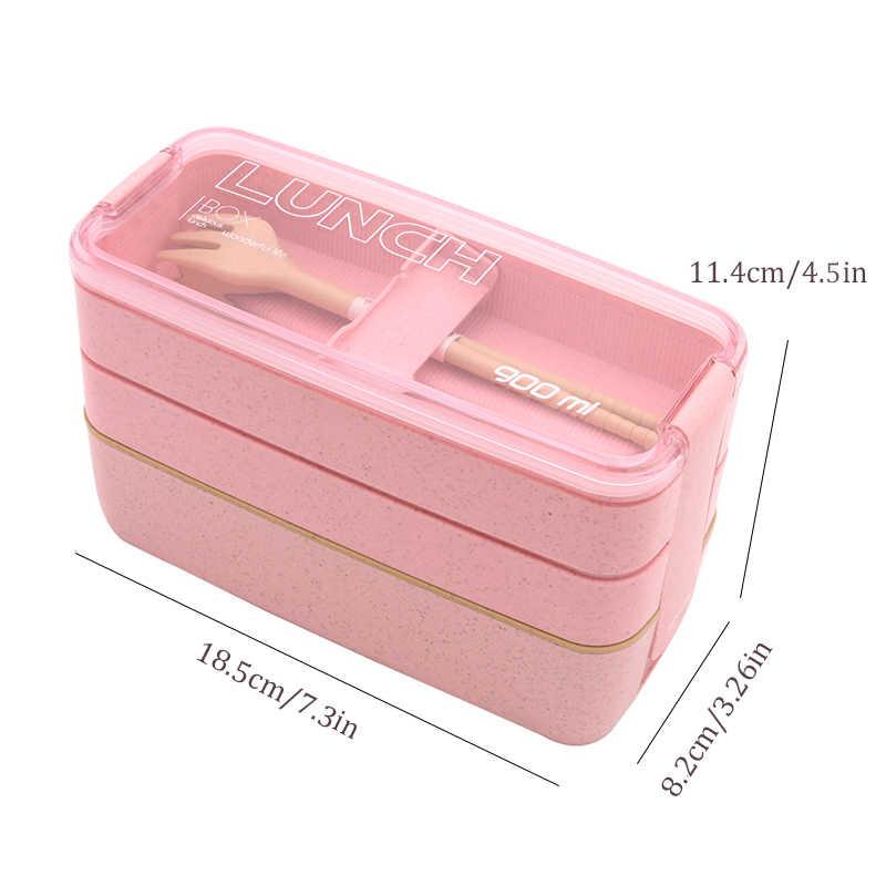 Caixa de Microondas Almoço 3 TUUTH Camada 900 ml Caixa de Armazenamento de Palha de Trigo Salada de Frutas Arroz Bento Caixa Recipiente de Alimento para secretaria da escola