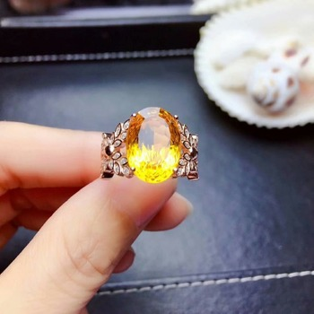 shilovem 925 sterling silver Piezoelectric citrine Rings fine Jewelry  trendy wedding bands open  new plant gift mj101466agj
