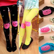 Cute Girl Kids Cute Cat Eat Fish Hosiery Pantyhose Skinny Pants Hose Tights(China)