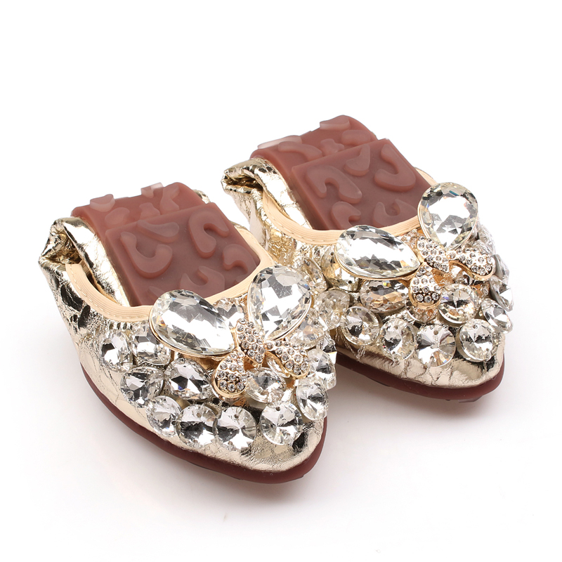 Big Size 35-43 Silver /Gold Women Leather Flat Shoes Fashion Rubber Soles Slip On For Rhinestone Ladies