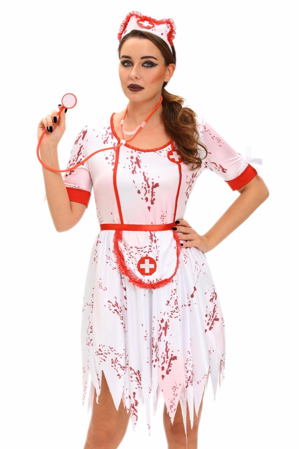 2017 halloween costumes 3pcs horrible zombie nurse costume women naughty sexy nurse costumes nursing uniforms lc8967 - Naughty Halloween