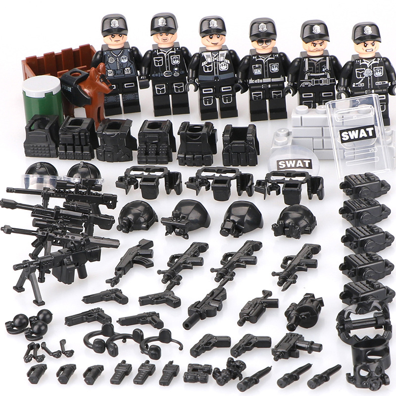 Hot Sale SWAT Figurines Military Mini Figurines City Super Police Mini Weapons Gun Set Building Blocks Building Toy For Children military modern swat figure single sale police with shield gun weapon bricks building blocks set model toys for children