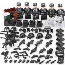 Venda quente Estatuetas de SWAT Militar Mini Figuras Da Cidade Policial Super Mini Conjunto Arma Armas de Construção Blocos de Construção de Brinquedo Para Crianças