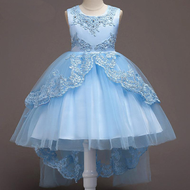 Us 8 63 28 Off Caileni Girls Mermaid Dress Jewelry Kids Birthday Party Dresses Children Flower Wedding Dress Formal Clothes For Teenage In Dresses