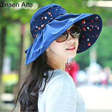2017 Fashion Summer Women's Foldable Wide Large Brim Floppy Beach Hat Print Casual Anti-UV Female Sun Hat Outdoor Lady Cap 1846