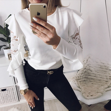 2018 Sexy Ruffle Lace Blouse Shirt Women Long Sleeve Floral White Blouses Female Tops Elegant Fashion Blouse Shirts blusas femme