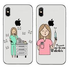 Spain Cute Cartoon Medicine Nurse Doctor Dentist TPU Soft Silicone Case For iPhone X 8 8Plus 5 5S SE 6 6S 6Plus 6SPlus 7 7Plus