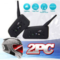 2 x BT Vnetphone Bluetooth Motorcycle Helmet Interphone Intercom Headset 6 Riders 1200M