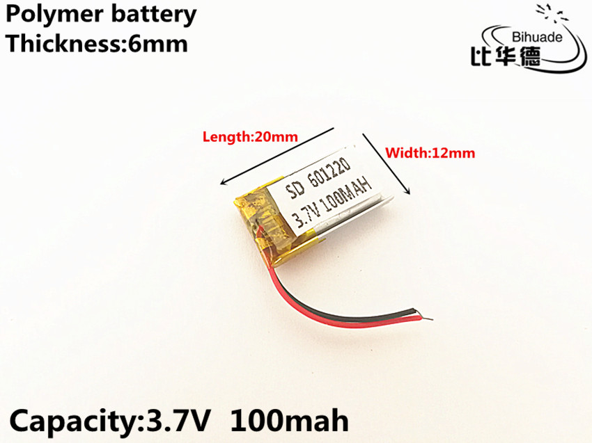 1pcs/lot 3.7V,100mAH,601220 Polymer lithium ion / Li-ion battery for TOY,POWER BANK,GPS,mp3,mp4 3 7v 20000mah sd 1465152 polymer lithium ion li ion battery for mobile bank tablet pc cell phone power bank