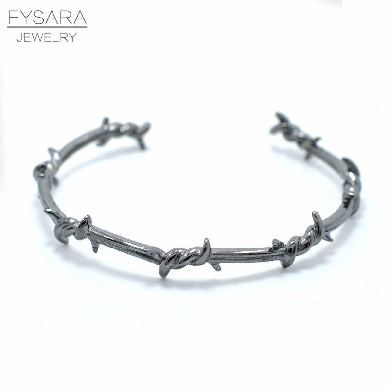 FYSARA Réglable Noir Twist Bracelet Bracelets Pour Les Femmes Manchette Punk Hommes Bracelets & Bangles Pour Couple Bijoux Cadeau 4 couleurs