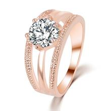 Austrian Crystals Ring Rose Gold Color anelli Flower Ring for Women