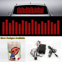 Red Music Rhythm Strips Flash Light Sound Activated Equalizer Car Sticker 90cm*25cm