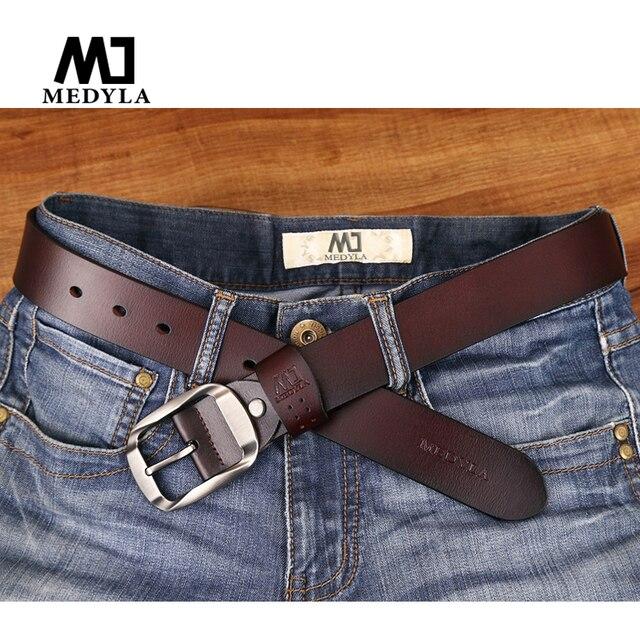 MEDYLA Dropship Haute Qualité En Cuir Véritable Bracelet De Luxe Mâle  Ceintures Pour Hommes Jeans Décontracté 771941a9ee7