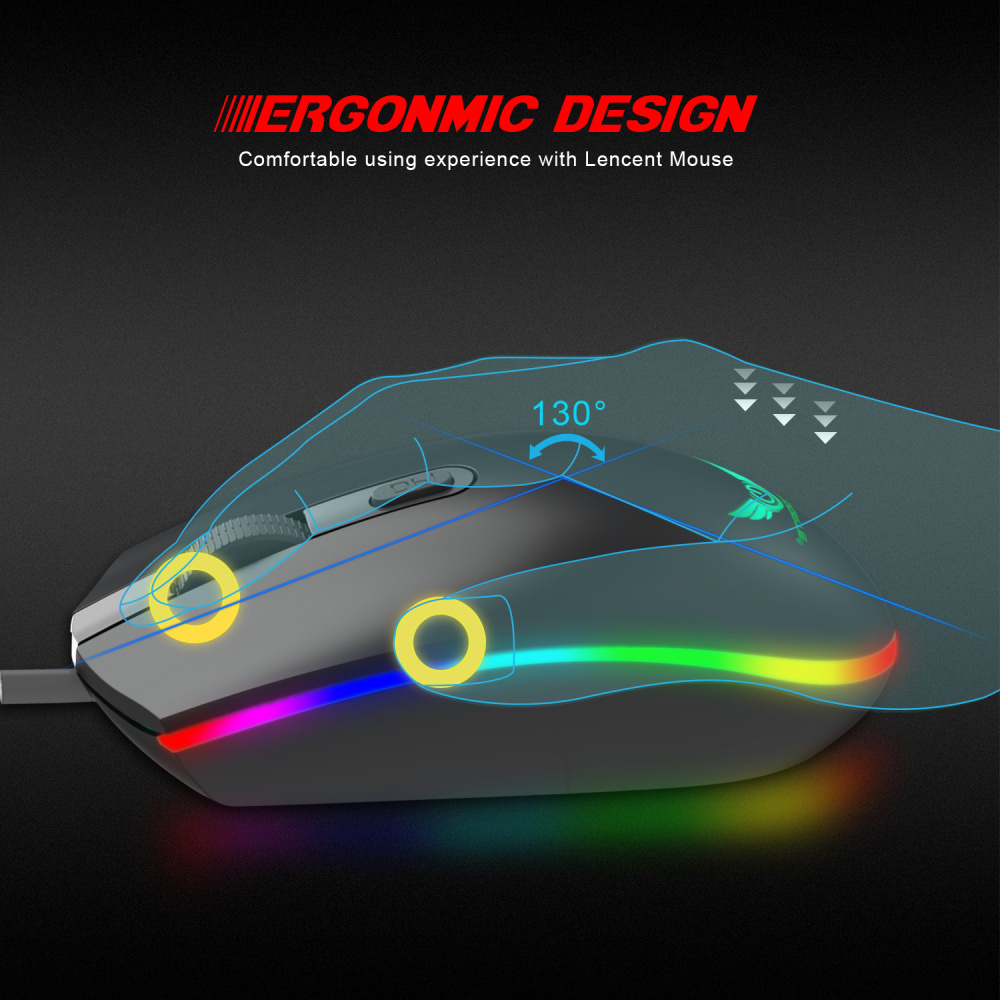ZERODATE New RGB Wired Mouse 1600DPI Office Gaming Mouse Support PC Laptop Computer Accessories in Mice from Computer Office