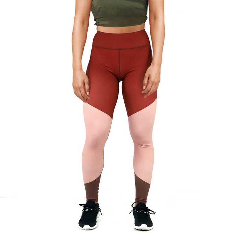 2019 新しい女性ヨガパンツライトニングプリントスポーツランニングスポーツウェアパッチワークストレッチフィットネスレギンスジム圧縮タイツ