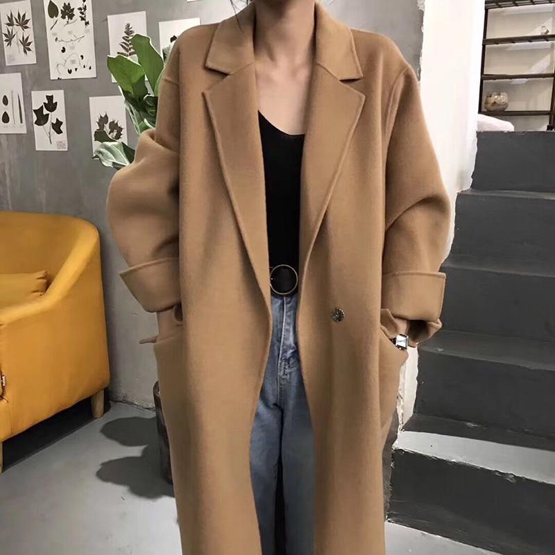 Lâche 2018 Occasionnel Realshe Automne Unique Nouvelle Femmes Mode Bouton Marron Laine Long Hiver Femelle Manteau De kaki 7dqfdP