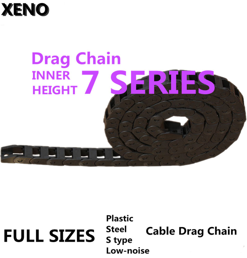 Free Shipping Transmission Chain 7x7/15 10x10/15/20/30/40 Plastic Towline Nylon Cable Drag Chain Wire Carrier With End Connector