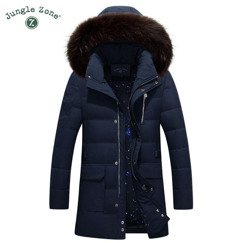 JUNGLE ZONE Mens Winter Thick Warm Down Jacket Casual Long Coat 95% <font><b>White</b></font> Duck Down Jackets Collar jackets Men down jacket 010