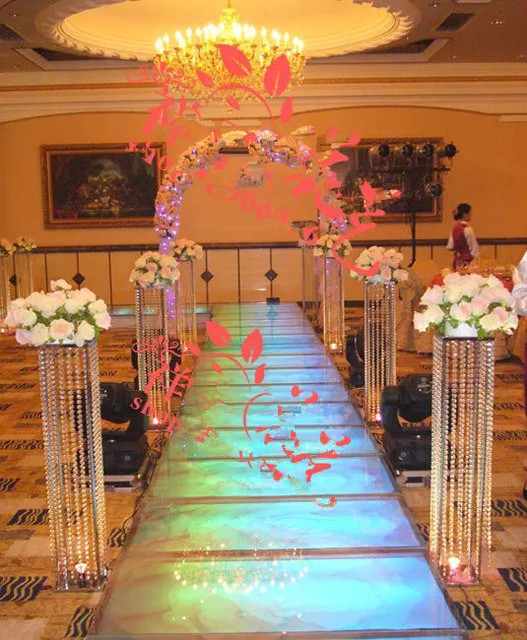 Tall Crystal Chandelier Flower Stand For Wedding Decoration No Light