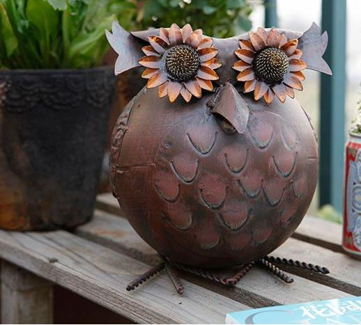 Garden Decorative Vintage Metal Iron Owl Antique