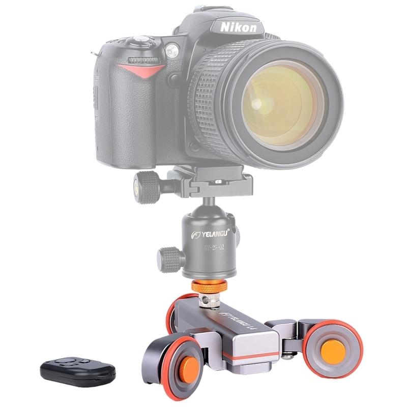 3 колеса тележки камеры Slider Долли yelangu L4 DSLR электрический трек Slider Видео шкив rolling Долли автомобилей Дистанционное управление макс 3 кг