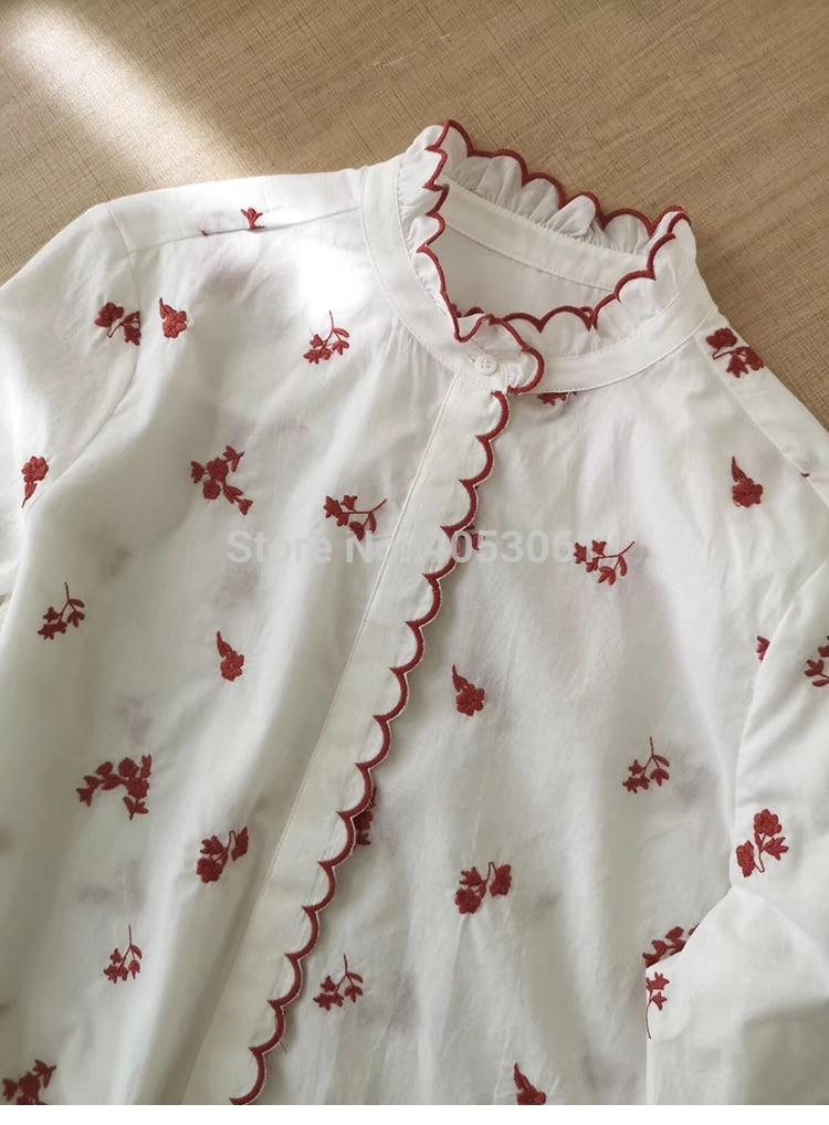 أعلى جودة الأبيض القطن 100% المطرزة الزهور بلوزة أعلى الميزات المطرزة تقليم 2019ss النساء التطريز بلوزة قميص-في بلوزات وقمصان من ملابس نسائية على  مجموعة 3