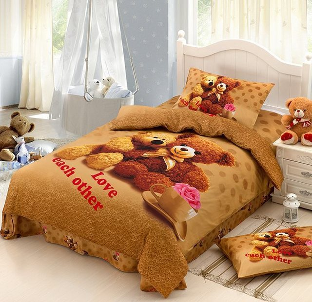 teddy bear cartoon baby bedding set kids twin size. Black Bedroom Furniture Sets. Home Design Ideas
